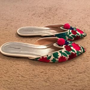 J.CREW FLORAL EMBROIDERED POINTED-TOE MULES